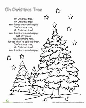 christmas tree songs for kids oh tree lyrics worksheet education