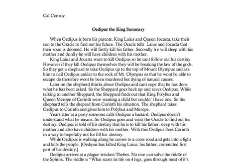 Oedipus The King Essays by Oedipus The King Summary A Level Classics Marked By Teachers