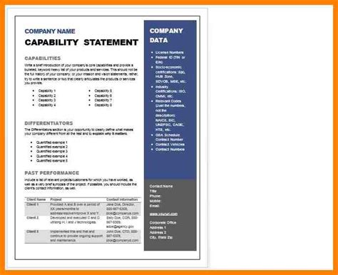 capability statement exles capability statement