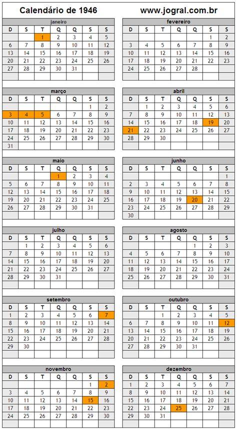 Calendario De 1946 Calend 225 Ano 1946 Para Imprimir Em Formato Pdf E Imagem