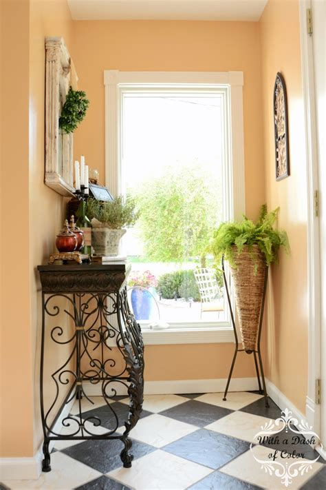 my foyer with a dash of color welcome to my foyer