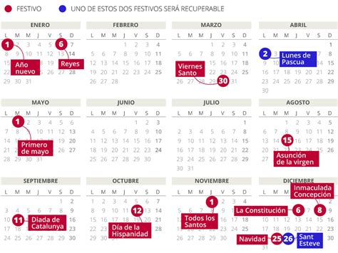 Calendario Con Festivos 2018 Calendario Laboral 2018 En Catalunya