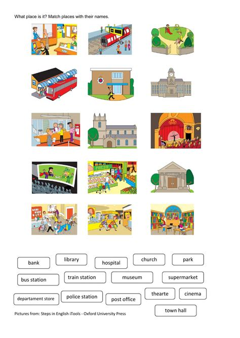 places worksheet places in town interactive worksheet