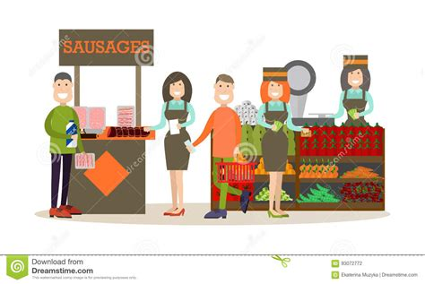 Look Chic While Grocery Shopping by Buying Groceries Vector Illustration In Flat Style