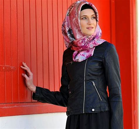 Lavani Hijabs Turkish Lv1 1 the leather jacket with this headscarf leather jackets leather
