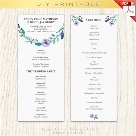 wedding program template printable printable program