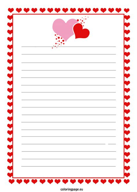 Free Printable Love Letter Coloring Page Letter Template Pages