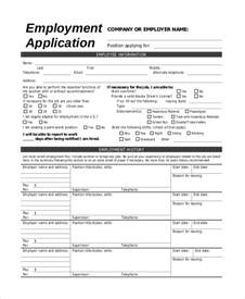 employment templates sle application 8 exles in pdf