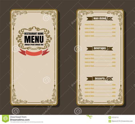 design menu vintage restaurant menu vintage design for background stock