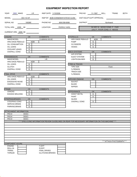 8 Inspection Report Template Printable Receipt Equipment Inspection Form Template