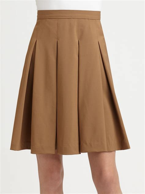 louise box pleat skirt in brown lyst