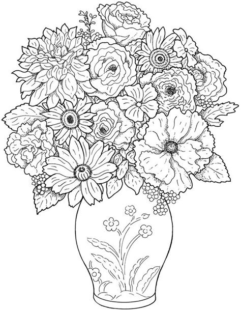 detailed coloring pages of flowers detailed coloring
