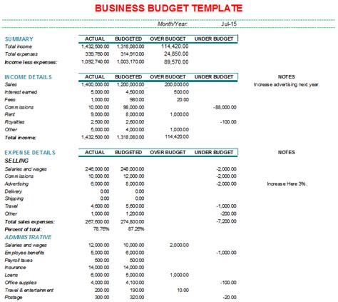 Sample Business Budget Template Monthly Business Budget And Expense Report Template