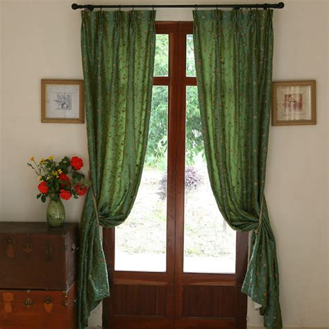 faux silk green curtains rose garden faux silk embroidered curtain green incurtains