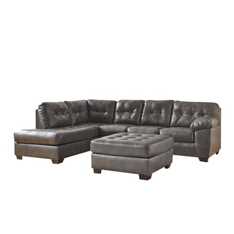 ashley leather chaise ashley alliston left chaise leather sectional with ottoman