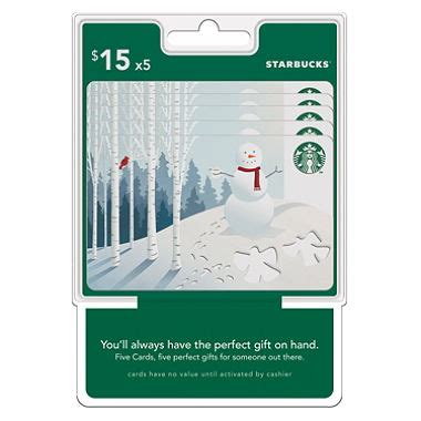 Starbuck Gift Card Value - starbuck s 75 value gift cards 5 x 15 sam s club