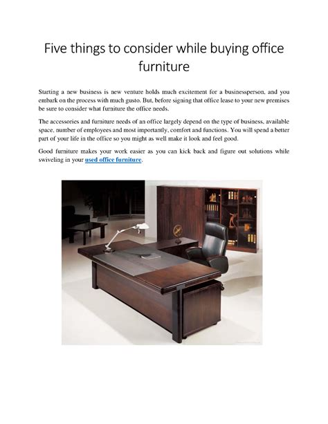 five things to consider while buying office furniture