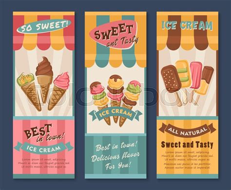 design banner ice cream ice cream vector banners set for dessert cafe or gelateria