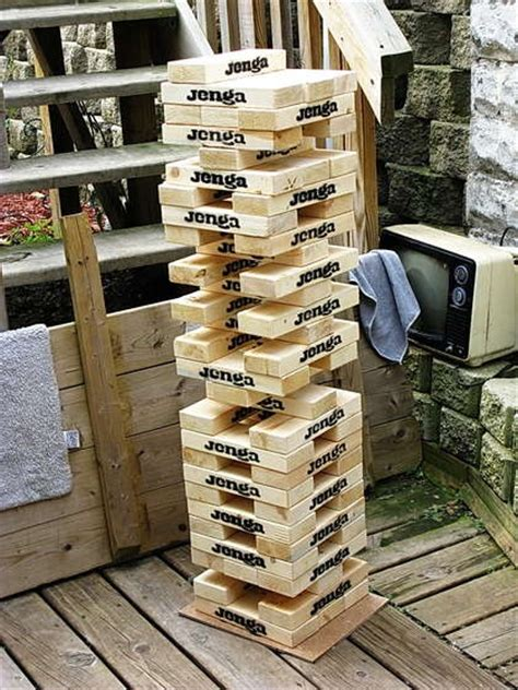 giant quot wooden block stacking game quot tower jenga lawn and