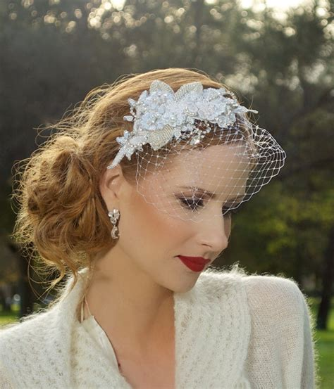 Vintage Wedding Hairstyles With Birdcage Veil by Bridal Headpiece Headpiece Silver Vintage Lace