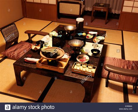 traditional japanese dinner table dinner on a table at a japanese traditional ryokan hotel