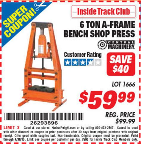 6 ton a frame bench shop press harbor freight tools coupon database free coupons 25