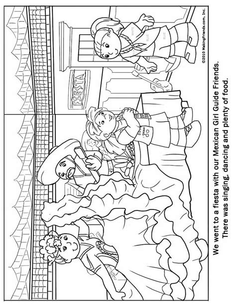 mexican girl coloring page world thinking day mexican girl guide coloring page