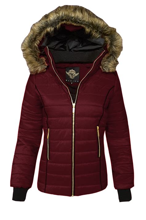 Padded Zip Up Coat fab style womens puffer bomber jacket quilted padded zip
