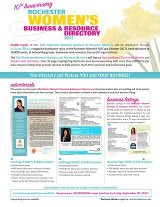 magazine layout rates 2016 rochester women business resource directory rate