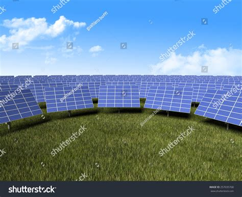 3d image of solar panels and green grass stock photo