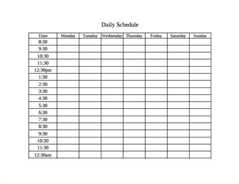 printable schedule with times time table stars