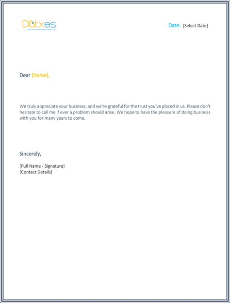 Thank You Letter Template For Business Support Business Letter Thank You For Your Support Cover Letter Templates