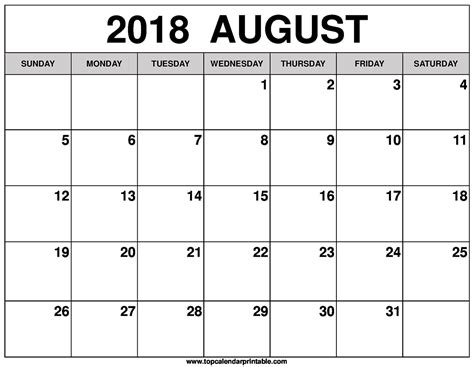 printable calendar august august 2018 calendar free download printables redefined