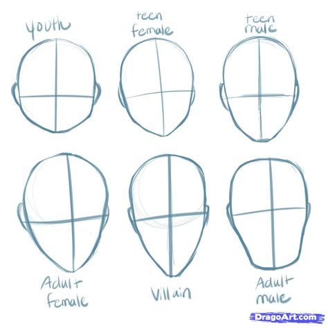 draw shapes how to draw heads step by step anime heads anime