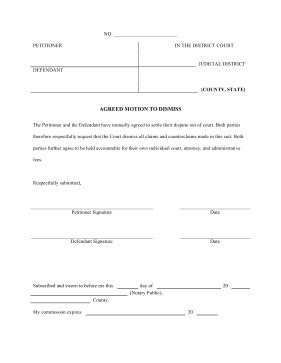 template for motion to dismiss printable agreed motion to dismiss pleading template