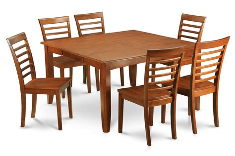 Square Dining Table For 6 7 Pc Parfait Square Dining Set Table With 6 Wood Seat Chairs In Saddle Brown Sku Pf7 Sbr W