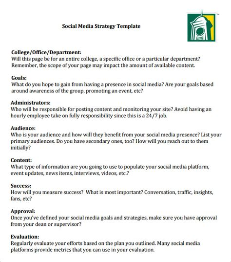 social media marketing business plan template 14 social media strategy templates free sle exle