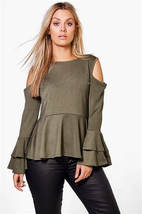 Ruffle Sleeve Peplum Top by Plus Ruffle Sleeve Peplum Top At Boohoo
