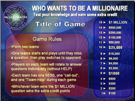 quot who wants to be a millionaire quot powerpoint review game