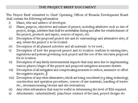 construction project brief template business procedures in rwanda