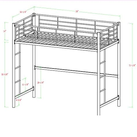 full size metal loft bed product reviews buy we furniture full size metal loft bed back