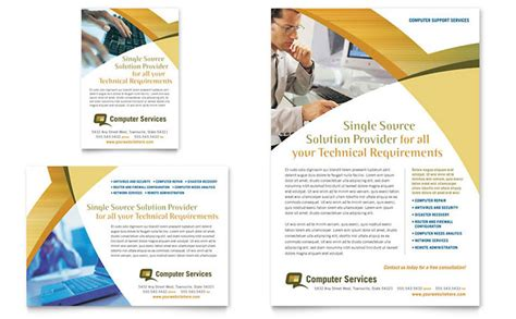 Advertisement Template computer services consulting flyer ad template design
