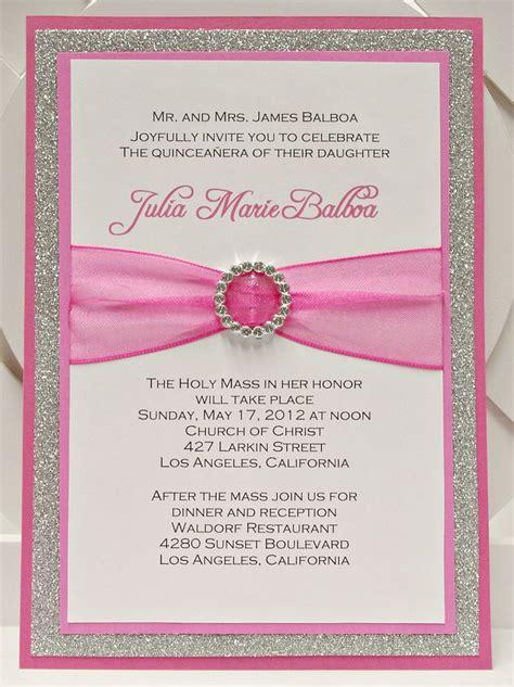 Handmade Sweet 16 Invitations - bright pink quincea 241 era sweet sixteen invitation of