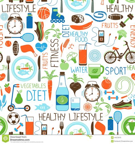 design pattern exercises sport diet and fitness pattern stock vector image 44572970