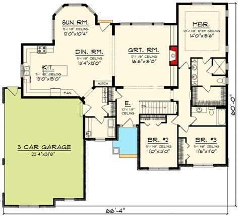 Craftsman Ranch With Sunroom 89914ah 1st Floor Master Ranch House Plans With Sunroom