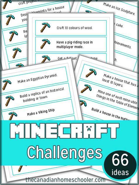 challenges to do on minecraft minecraft challenge cards