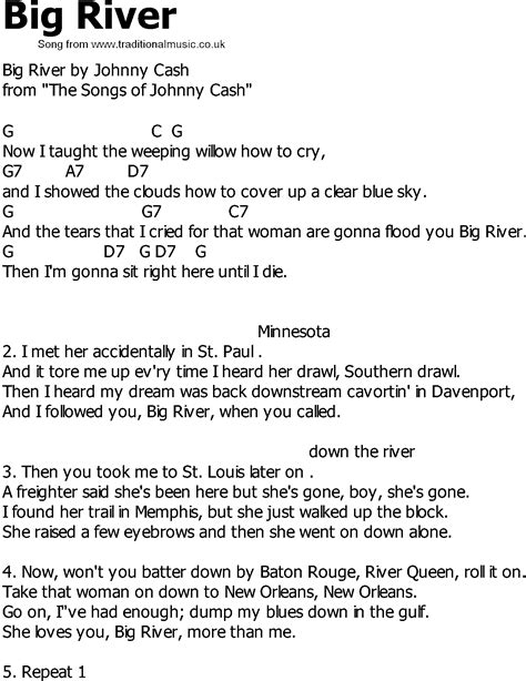 country song lyrics country song lyrics with chords big river