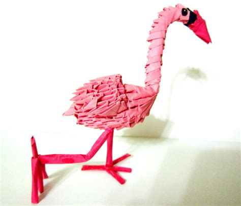 3d Origami Flamingo - mini 3d origami flamingo by ellycolor on deviantart