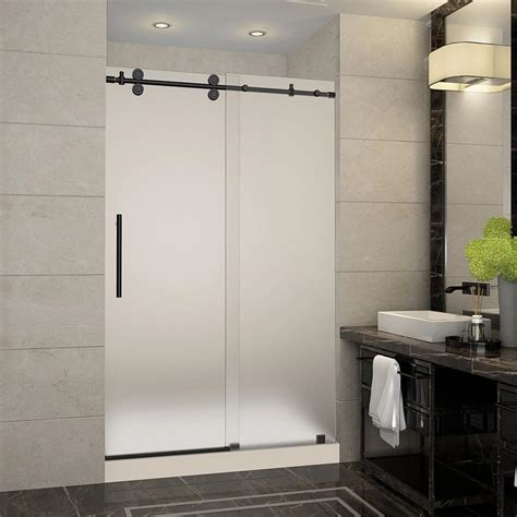 Bathroom Doors With Glass Aston Langham 48 In X 36 In X 77 5 In Frameless Sliding Shower Door With Frosted Glass In