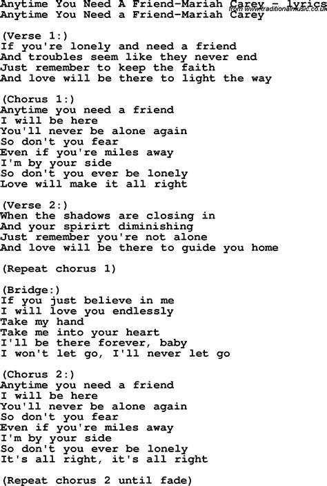 lyrics carey anytime you need a friend carey as pdf